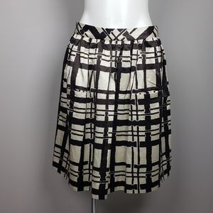 Anthro Maeve Pleated Circle Skirt Sz 6 Brown/Cream